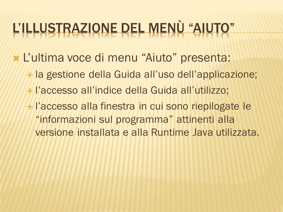 Lultima voce di menu Aiuto presenta: la gestione della Guida alluso dellapplicazione; laccesso allindice della Guida allutilizzo; laccesso alla finest