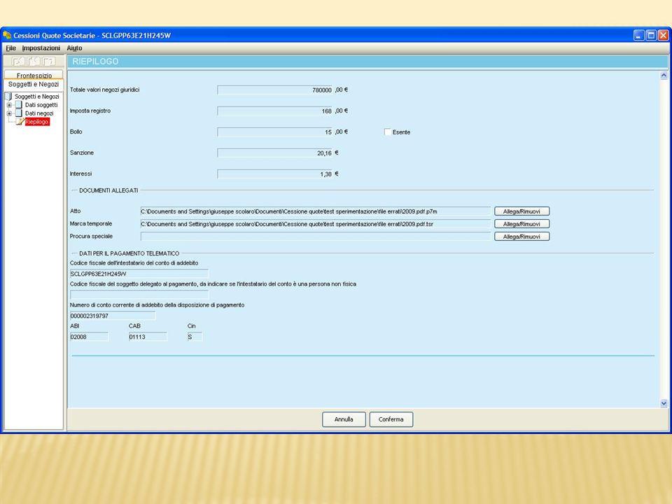 Tramite il bottone Allega/Rimuovi si può accedere alla cartella locale da cui prelevare il documento informatico da allegare.