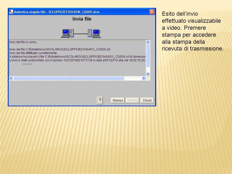 Accedendo alla gestione ricevute del servizio telematico sono immediatamente Disponibili le prime due ricevute: quella CQS00 e quella CQT00