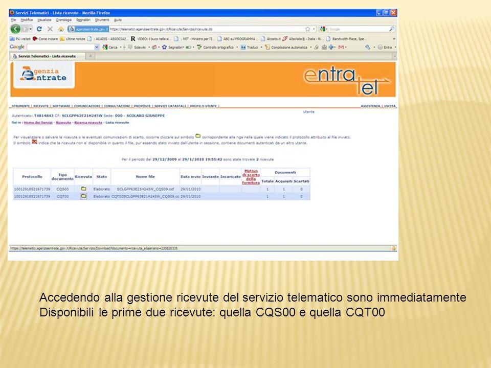 Per il download della ricevuta occorre connettersi al sito web del Sevizio telematico, accedere alla sezione Ricevute e salvare in locale il file compresso.