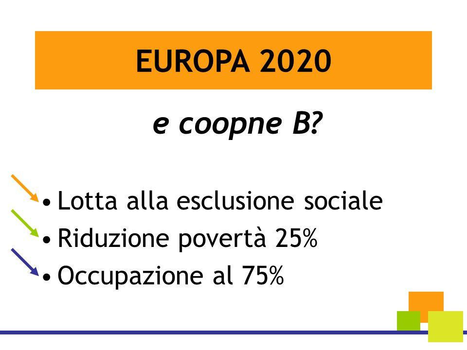 e coopne B? Lotta alla esclusione sociale Riduzione povertà 25% Occupazione al 75% EUROPA 2020
