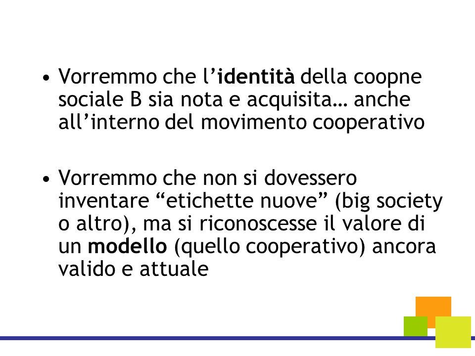 Vorremmo che lidentità della coopne sociale B sia nota e acquisita… anche allinterno del movimento cooperativo Vorremmo che non si dovessero inventare