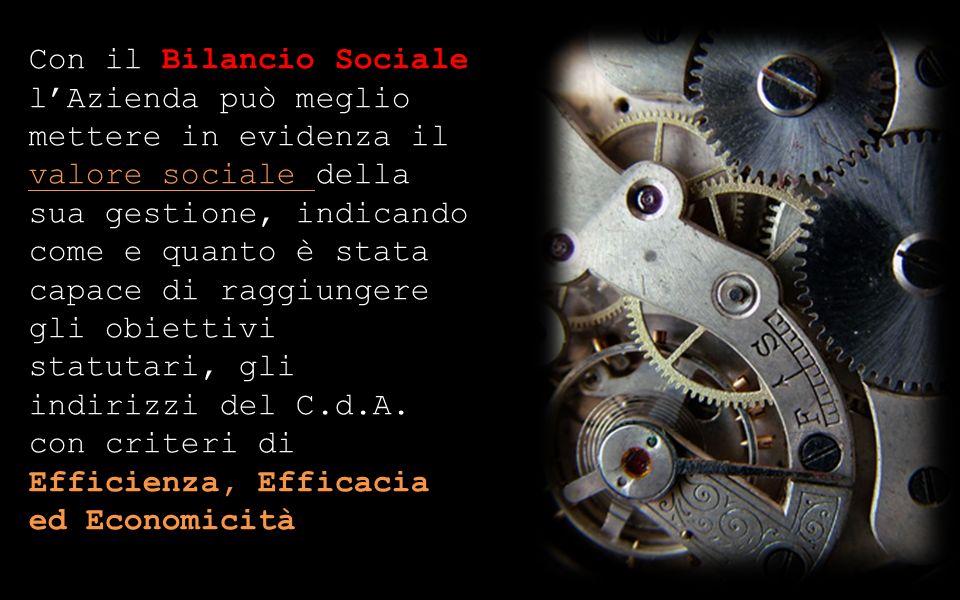 Con il Bilancio Sociale lAzienda può meglio mettere in evidenza il valore sociale della sua gestione, indicando come e quanto è stata capace di raggiungere gli obiettivi statutari, gli indirizzi del C.d.A.