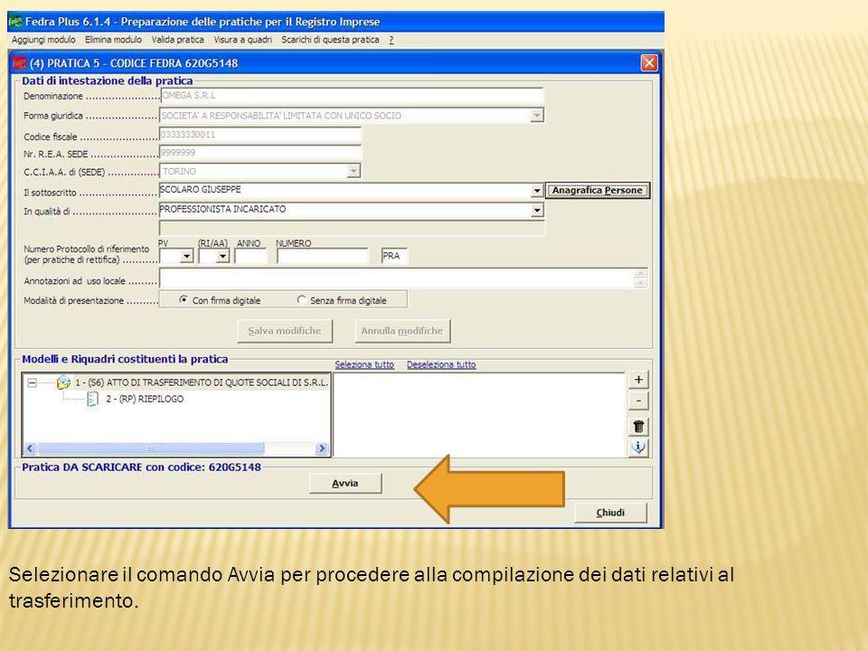 Selezionare il comando Avvia per procedere alla compilazione dei dati relativi al trasferimento.