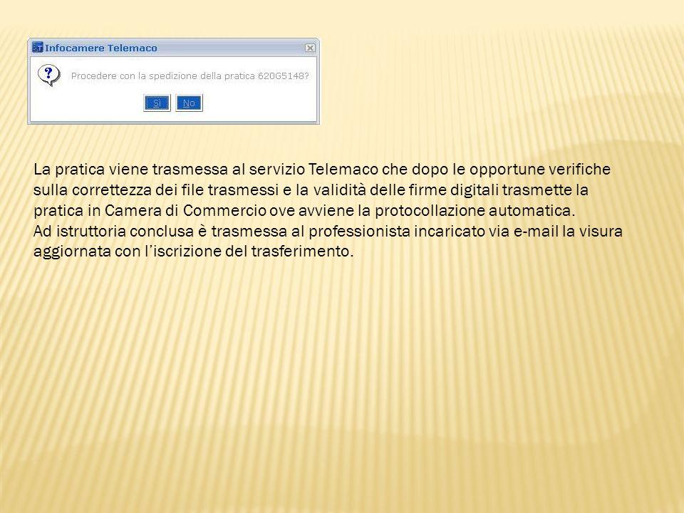 La pratica viene trasmessa al servizio Telemaco che dopo le opportune verifiche sulla correttezza dei file trasmessi e la validità delle firme digital