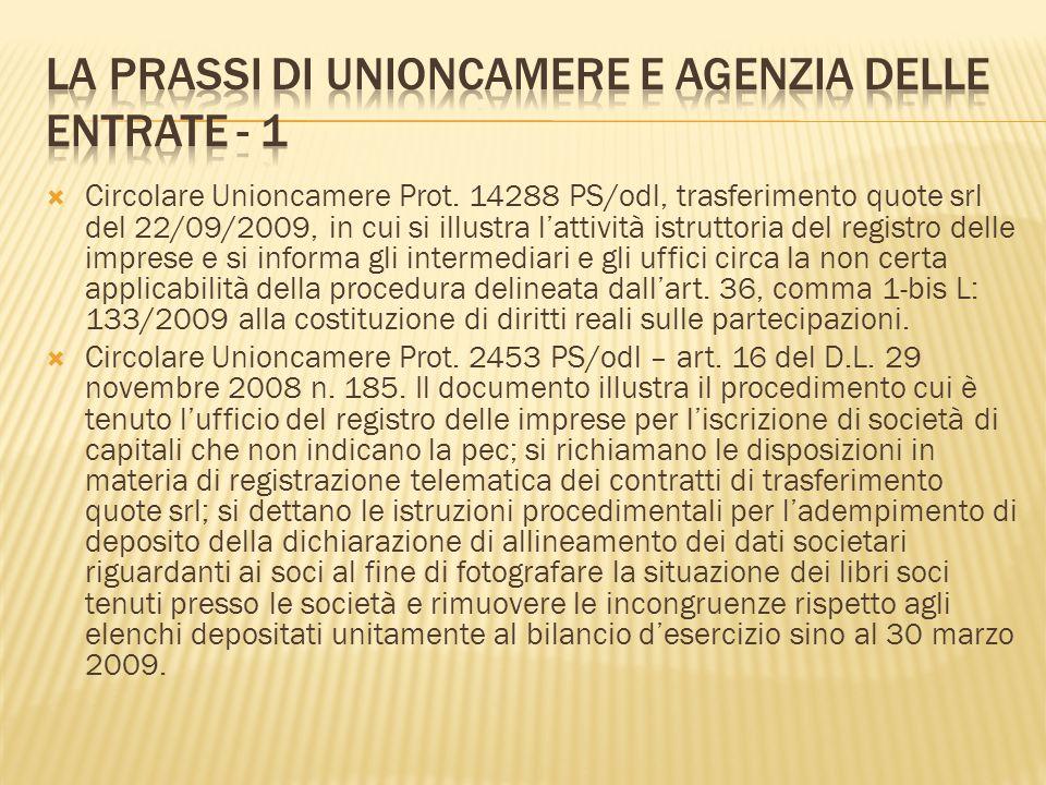 Circolare Unioncamere Prot. 14288 PS/odl, trasferimento quote srl del 22/09/2009, in cui si illustra lattività istruttoria del registro delle imprese