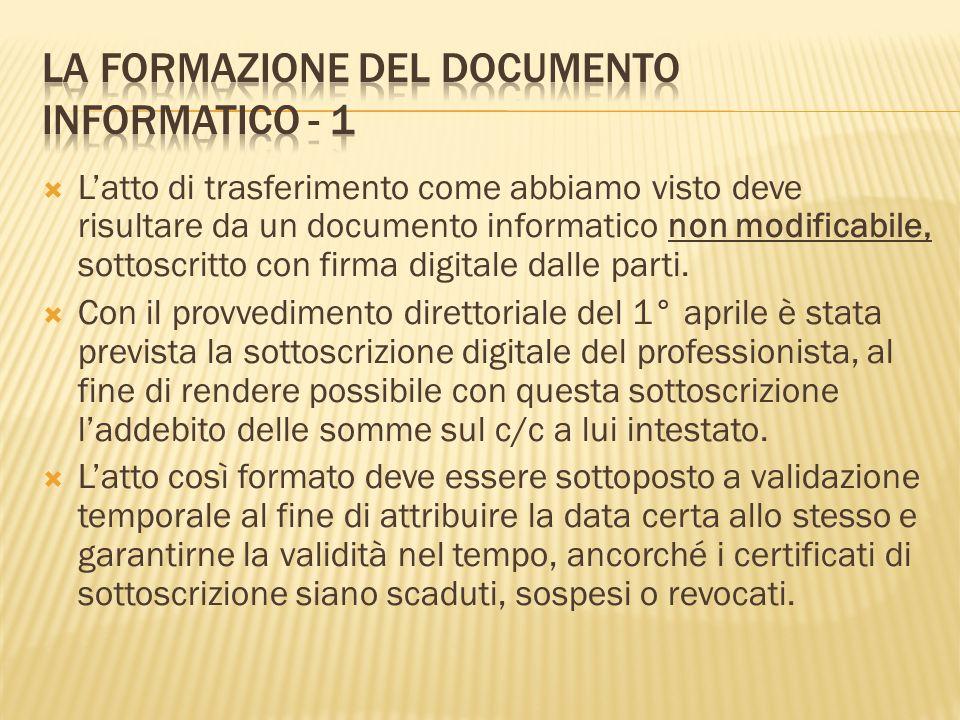 Latto di trasferimento come abbiamo visto deve risultare da un documento informatico non modificabile, sottoscritto con firma digitale dalle parti. Co