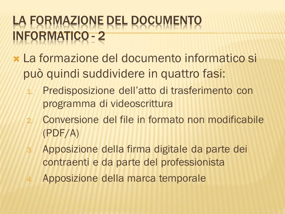 La formazione del documento informatico si può quindi suddividere in quattro fasi: 1. Predisposizione dellatto di trasferimento con programma di video