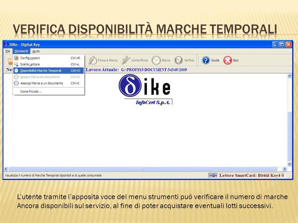 Lutente tramite lapposita voce del menu strumenti può verificare il numero di marche Ancora disponibili sul servizio, al fine di poter acquistare even