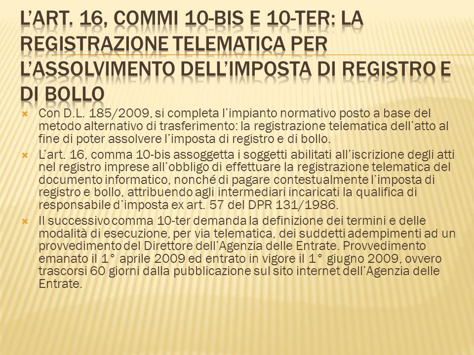 Con D.L. 185/2009, si completa limpianto normativo posto a base del metodo alternativo di trasferimento: la registrazione telematica dellatto al fine