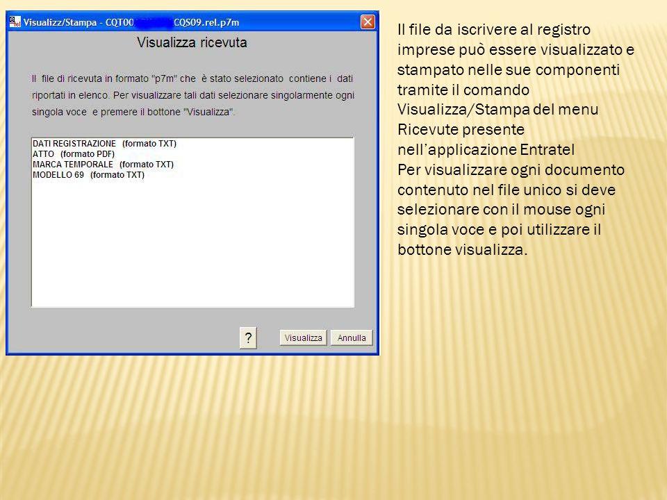 Il file da iscrivere al registro imprese può essere visualizzato e stampato nelle sue componenti tramite il comando Visualizza/Stampa del menu Ricevut