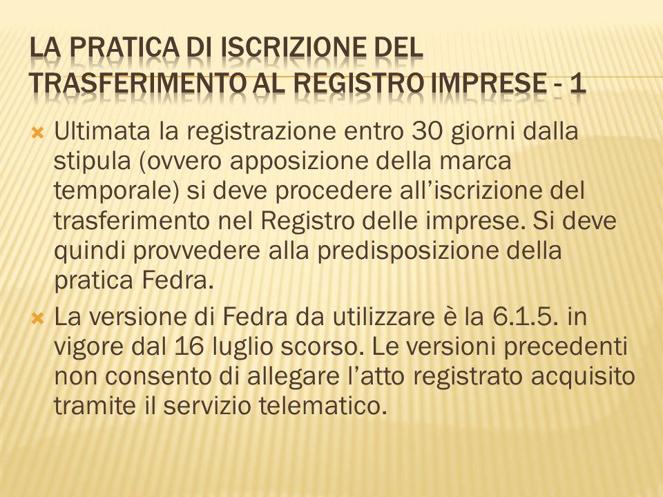 Ultimata la registrazione entro 30 giorni dalla stipula (ovvero apposizione della marca temporale) si deve procedere alliscrizione del trasferimento n