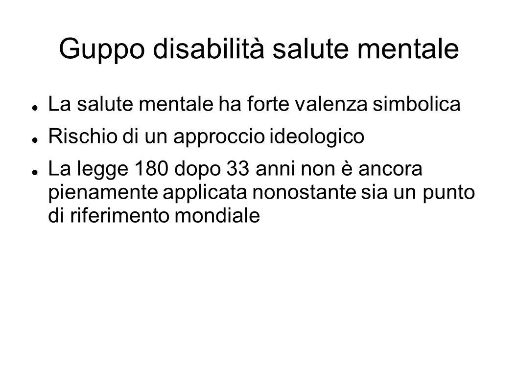 Guppo disabilità salute mentale La salute mentale ha forte valenza simbolica Rischio di un approccio ideologico La legge 180 dopo 33 anni non è ancora pienamente applicata nonostante sia un punto di riferimento mondiale