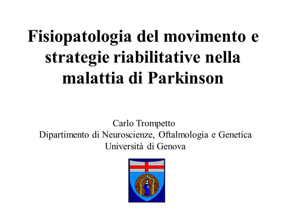Malattia di Parkinson: alterazione del movimento volontario Acinesia: globale riduzione della motilità Bradicinesia: lentezza dei movimenti Ipocinesia: riduzione dellampiezza dei movimenti