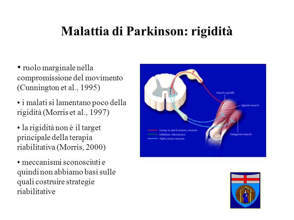 Malattia di Parkinson: rigidità ruolo marginale nella compromissione del movimento (Cunnington et al., 1995) i malati si lamentano poco della rigidità