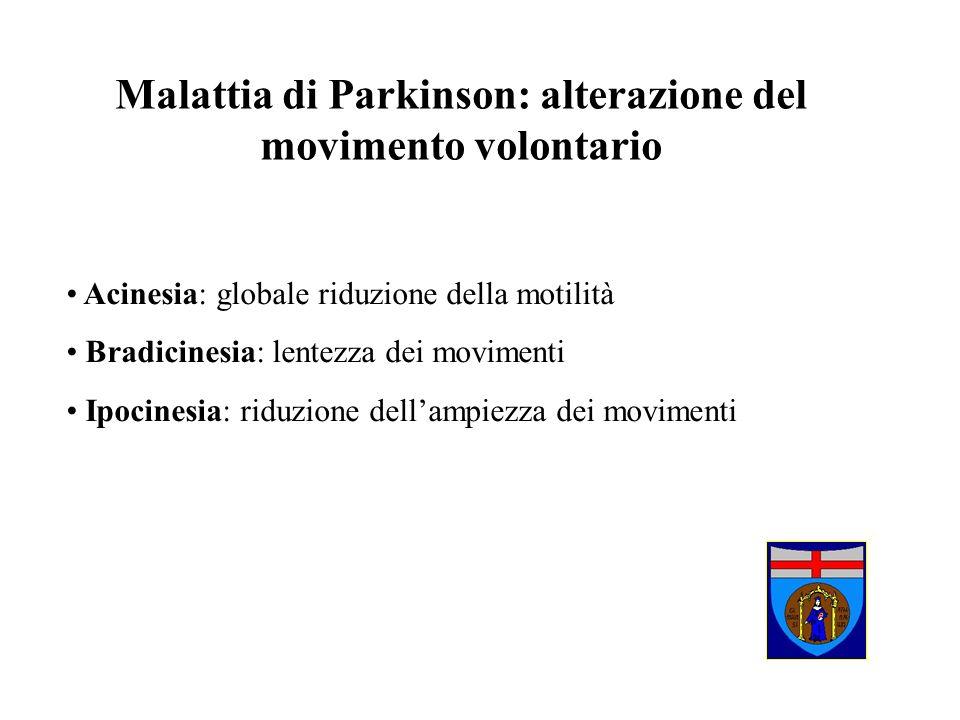 Malattia di Parkinson: alterazione del movimento volontario Acinesia: globale riduzione della motilità Bradicinesia: lentezza dei movimenti Ipocinesia
