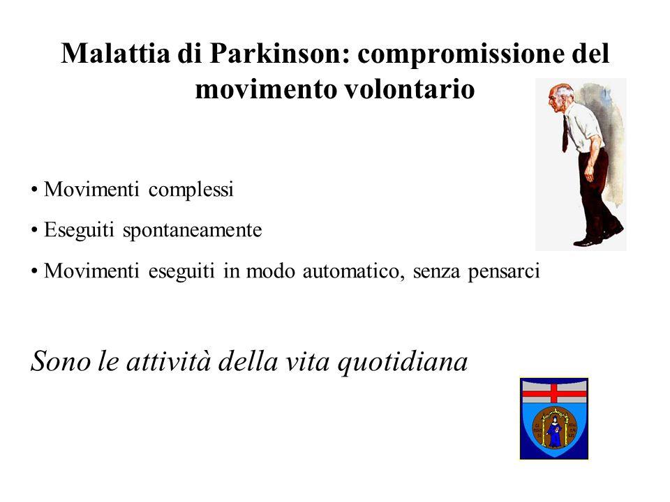 Malattia di Parkinson: compromissione del movimento volontario Movimenti complessi Eseguiti spontaneamente Movimenti eseguiti in modo automatico, senz