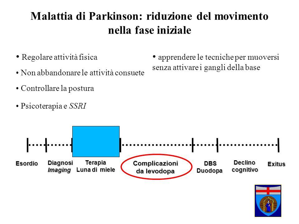 Esordio Esordio Diagnosi DiagnosiImaging Terapia Luna di miele Complicazioni da levodopa DBS DBSDuodopaDeclinocognitivo Malattia di Parkinson: riduzio