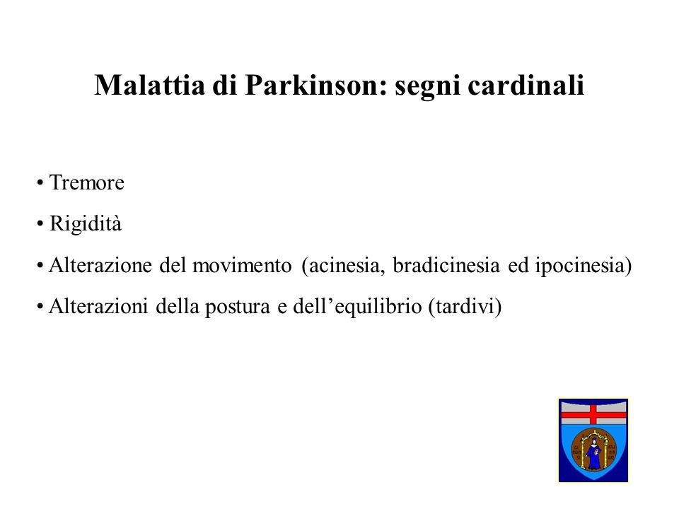 Malattia di Parkinson: segni cardinali Tremore Rigidità Alterazione del movimento (acinesia, bradicinesia ed ipocinesia) Alterazioni della postura e d