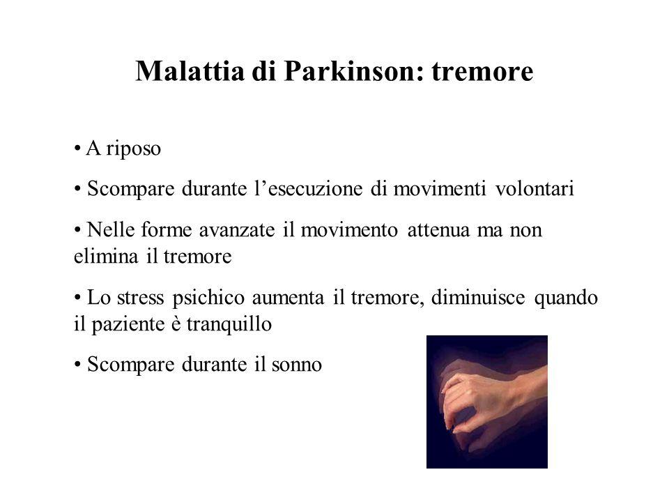 Malattia di Parkinson: tremore A riposo Scompare durante lesecuzione di movimenti volontari Nelle forme avanzate il movimento attenua ma non elimina i