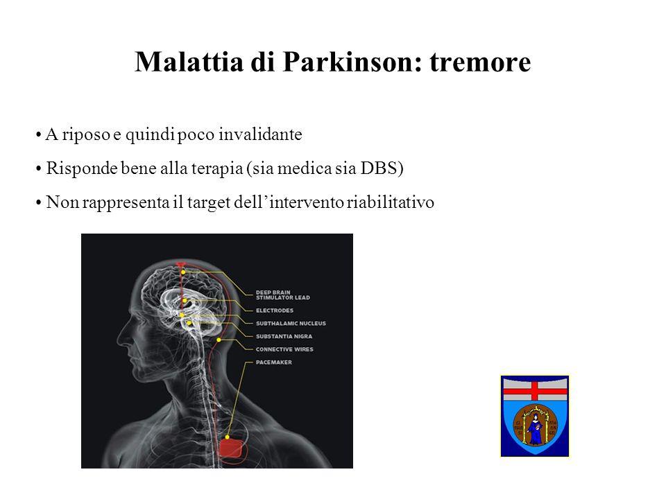 Malattia di Parkinson: tremore A riposo e quindi poco invalidante Risponde bene alla terapia (sia medica sia DBS) Non rappresenta il target dellinterv