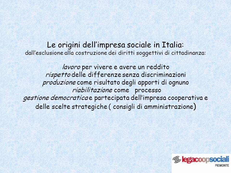 Le origini dellimpresa sociale in Italia: dallesclusione alla costruzione dei diritti soggettivi di cittadinanza: lavoro per vivere e avere un reddito