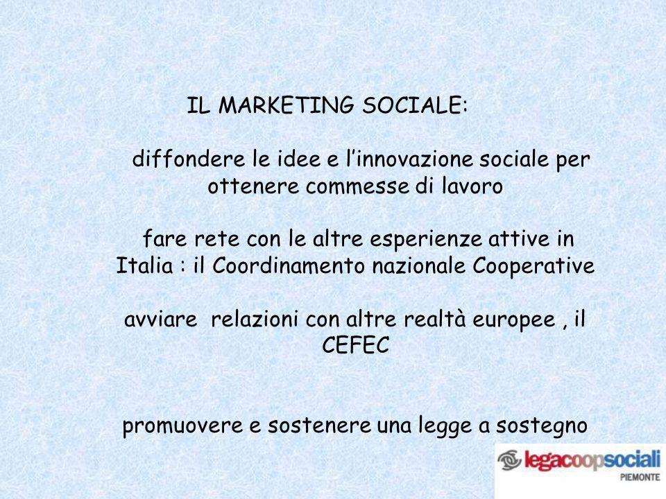 IL MARKETING SOCIALE: diffondere le idee e linnovazione sociale per ottenere commesse di lavoro fare rete con le altre esperienze attive in Italia : i