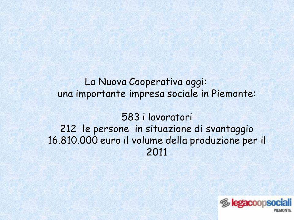 La Nuova Cooperativa oggi: una importante impresa sociale in Piemonte: 583 i lavoratori 212 le persone in situazione di svantaggio 16.810.000 euro il volume della produzione per il 2011