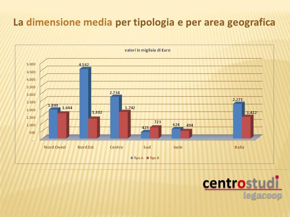 La dimensione media per tipologia e per area geografica