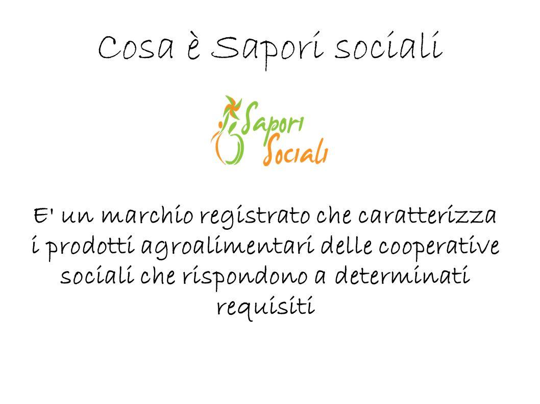 Cosa è Sapori sociali E' un marchio registrato che caratterizza i prodotti agroalimentari delle cooperative sociali che rispondono a determinati requi