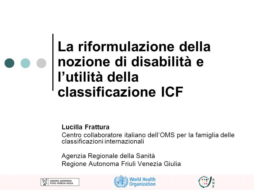 La riformulazione della nozione di disabilità e lutilità della classificazione ICF Lucilla Frattura Centro collaboratore italiano dellOMS per la famig