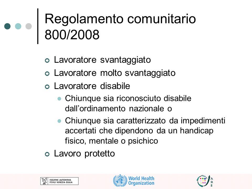 Regolamento comunitario 800/2008 Lavoratore svantaggiato Lavoratore molto svantaggiato Lavoratore disabile Chiunque sia riconosciuto disabile dallordi