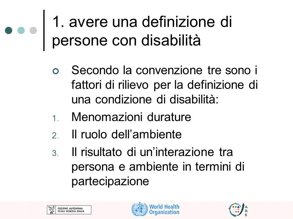 1. avere una definizione di persone con disabilità Secondo la convenzione tre sono i fattori di rilievo per la definizione di una condizione di disabi