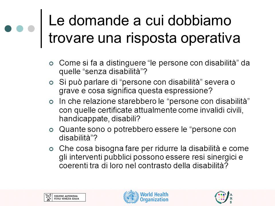 Le domande a cui dobbiamo trovare una risposta operativa Come si fa a distinguere le persone con disabilità da quelle senza disabilità? Si può parlare