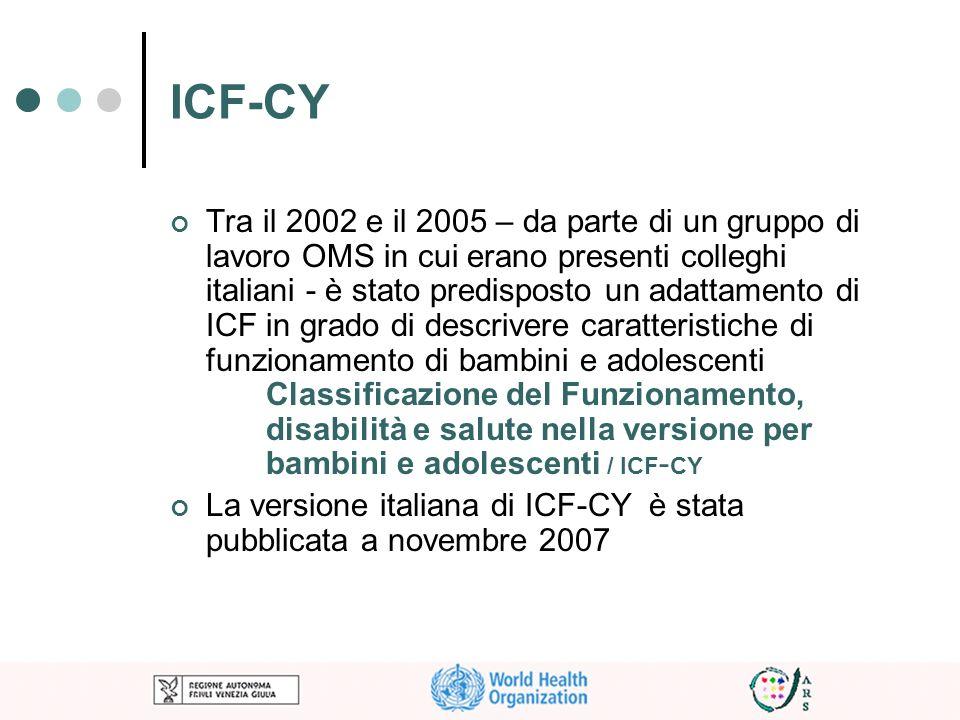 ICF-CY Tra il 2002 e il 2005 – da parte di un gruppo di lavoro OMS in cui erano presenti colleghi italiani - è stato predisposto un adattamento di ICF