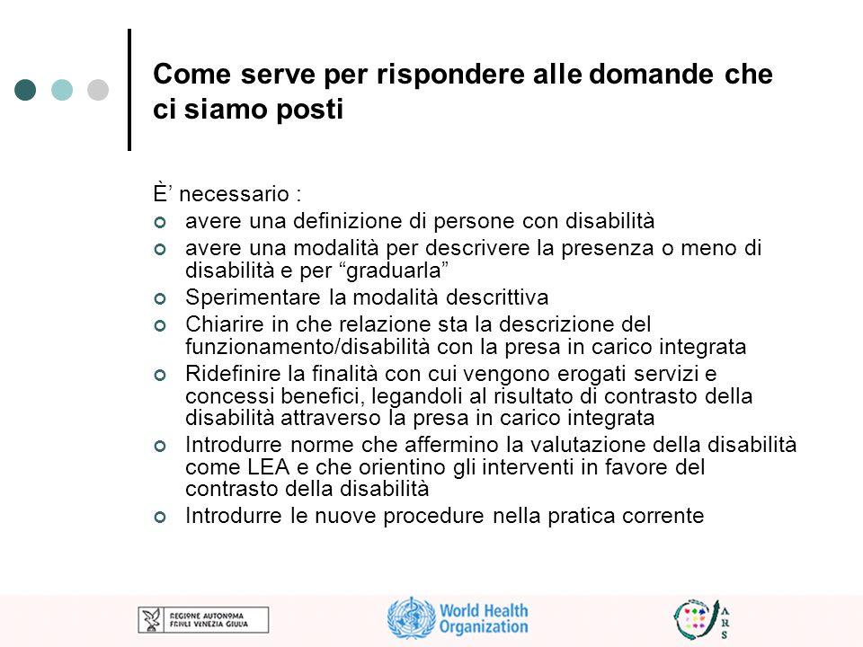 Come serve per rispondere alle domande che ci siamo posti È necessario : avere una definizione di persone con disabilità avere una modalità per descri