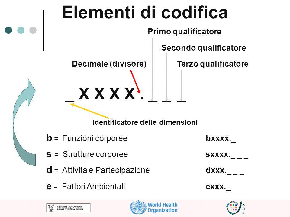 Elementi di codifica Primo qualificatore Secondo qualificatore Decimale (divisore) Terzo qualificatore _ X X X X. _ __ Identificatore delle dimensioni
