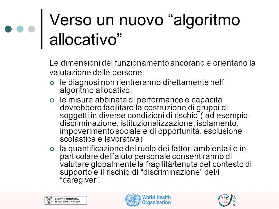 Verso un nuovo algoritmo allocativo Le dimensioni del funzionamento ancorano e orientano la valutazione delle persone: le diagnosi non rientreranno di