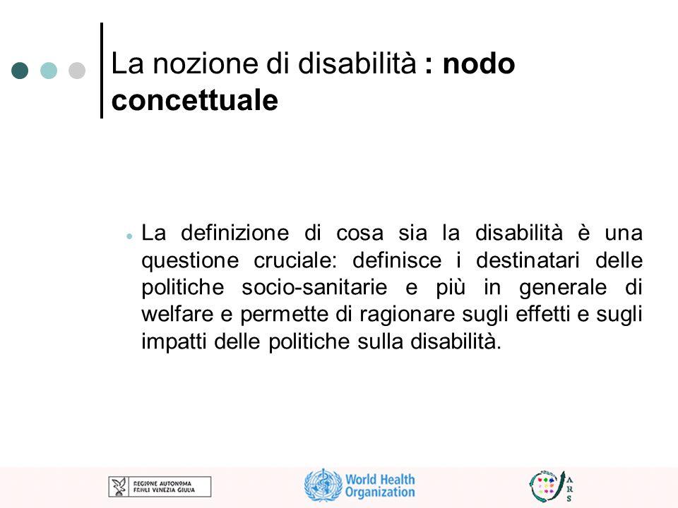 La nozione di disabilità : nodo concettuale La definizione di cosa sia la disabilità è una questione cruciale: definisce i destinatari delle politiche