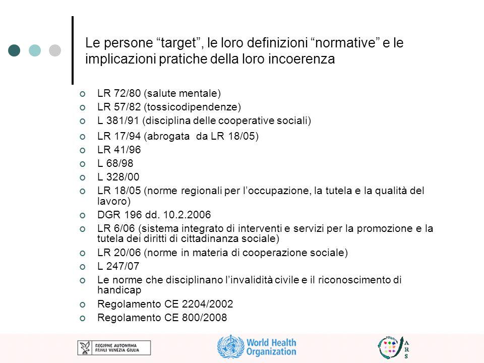 Le persone target, le loro definizioni normative e le implicazioni pratiche della loro incoerenza LR 72/80 (salute mentale) LR 57/82 (tossicodipendenz