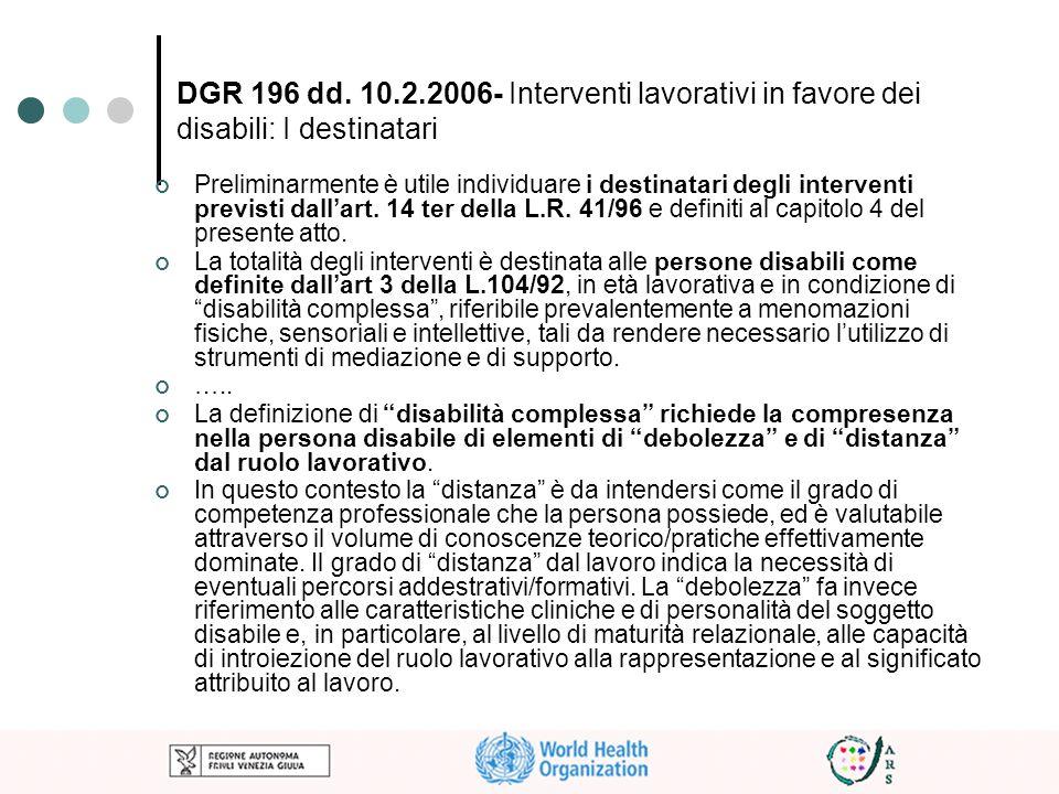 DGR 196 dd. 10.2.2006- Interventi lavorativi in favore dei disabili: I destinatari Preliminarmente è utile individuare i destinatari degli interventi