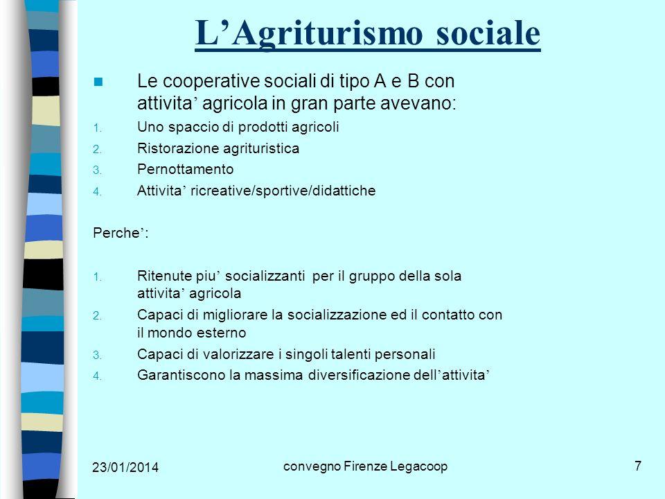 23/01/2014 convegno Firenze Legacoop8 LAgriturismo sociale In Emilia-Romagna La LR.