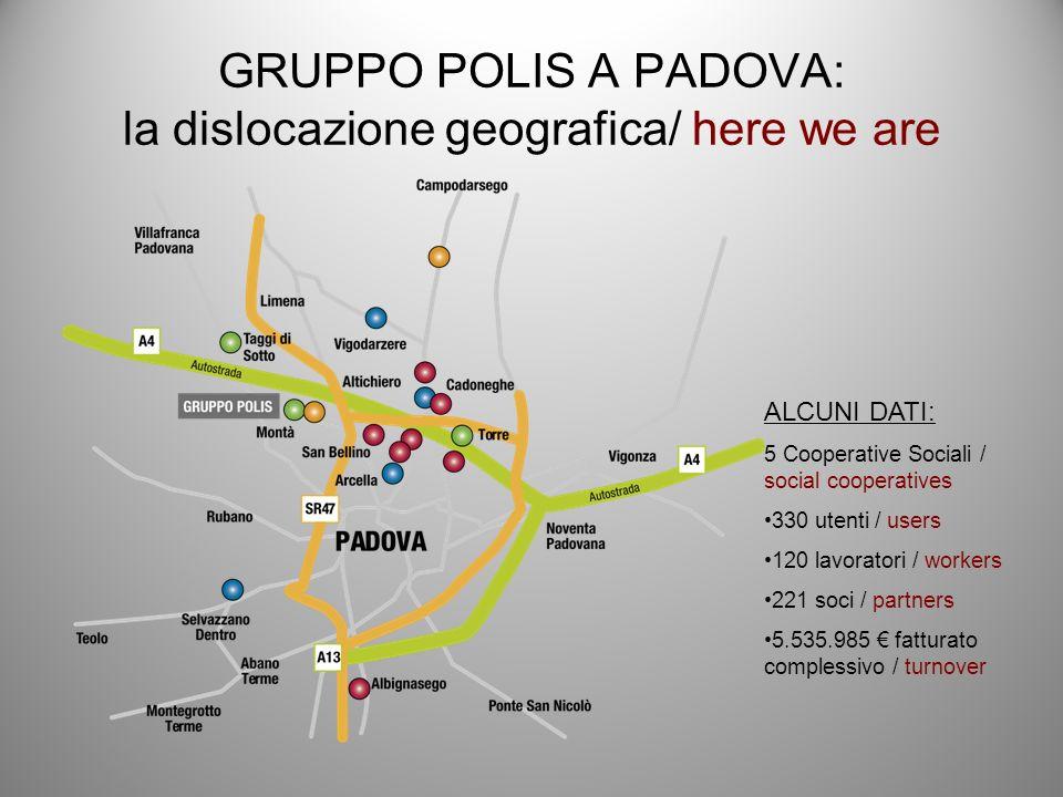 GRUPPO POLIS A PADOVA: la dislocazione geografica/ here we are ALCUNI DATI: 5 Cooperative Sociali / social cooperatives 330 utenti / users 120 lavoratori / workers 221 soci / partners 5.535.985 fatturato complessivo / turnover