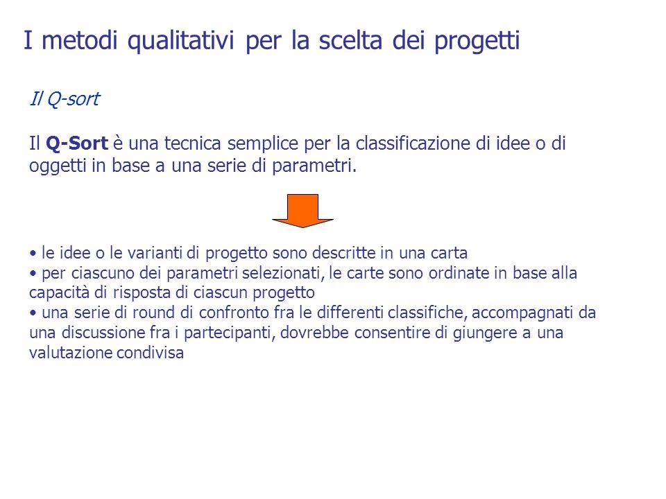I metodi qualitativi per la scelta dei progetti Il Q-sort Il Q-Sort è una tecnica semplice per la classificazione di idee o di oggetti in base a una s
