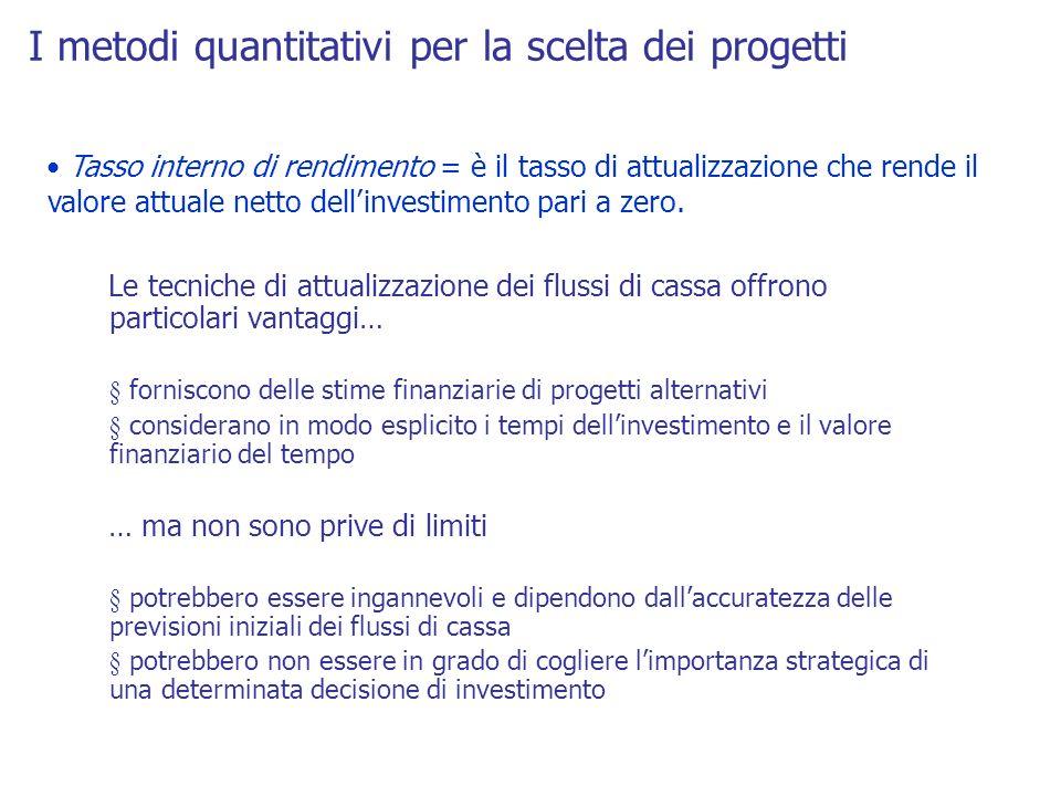 I metodi quantitativi per la scelta dei progetti Tasso interno di rendimento = è il tasso di attualizzazione che rende il valore attuale netto dellinv