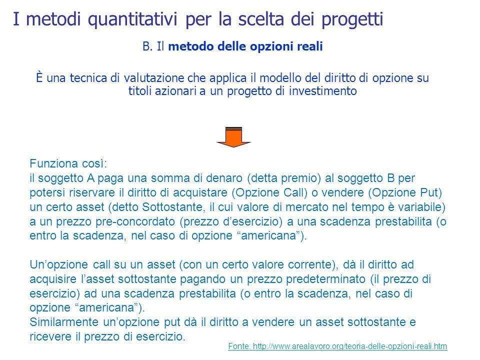 I metodi quantitativi per la scelta dei progetti B. Il metodo delle opzioni reali È una tecnica di valutazione che applica il modello del diritto di o