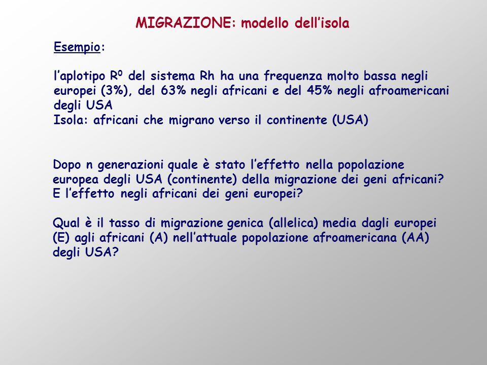 Esempio: laplotipo R 0 del sistema Rh ha una frequenza molto bassa negli europei (3%), del 63% negli africani e del 45% negli afroamericani degli USA Isola: africani che migrano verso il continente (USA) MIGRAZIONE: modello dellisola Dopo n generazioni quale è stato leffetto nella popolazione europea degli USA (continente) della migrazione dei geni africani.