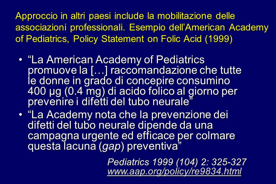Approccio in altri paesi include la mobilitazione delle associazioni professionali. Esempio dellAmerican Academy of Pediatrics, Policy Statement on Fo