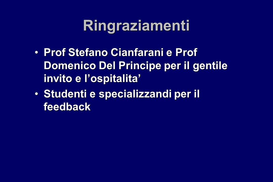 Ringraziamenti Prof Stefano Cianfarani e Prof Domenico Del Principe per il gentile invito e lospitalitaProf Stefano Cianfarani e Prof Domenico Del Pri