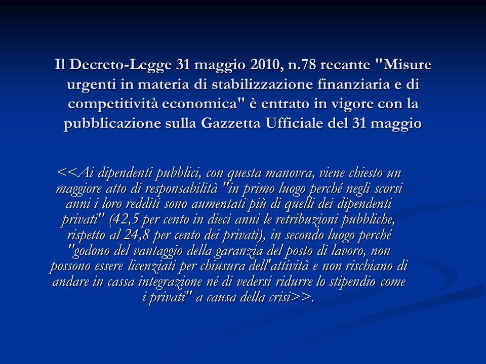Il Decreto-Legge 31 maggio 2010, n.78 recante Misure urgenti in materia di stabilizzazione finanziaria e di competitività economica è entrato in vigore con la pubblicazione sulla Gazzetta Ufficiale del 31 maggio Il Decreto-Legge 31 maggio 2010, n.78 recante Misure urgenti in materia di stabilizzazione finanziaria e di competitività economica è entrato in vigore con la pubblicazione sulla Gazzetta Ufficiale del 31 maggio >.